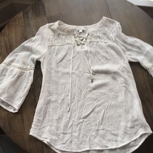 Lace-up white peasant blouse